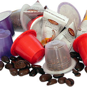 Tea and coffee capsules, coffee beans and sugar packets